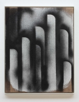 , spray paint and gesso on burlap, wooden frame, 64 x 52cm, 2012